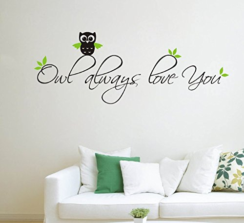 ALiQing Owl Always Love You Cute Nursery Vinyl Wall Quotes Art Sayings Stickers Decals -