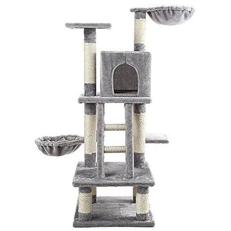 CO-Z Árbol para Gato Rascador Gatito Condominio Torre con Perchas de Escalera y Rascadores con 2 Hamacas de Doble Capa Recubrimiento de Felpa: Amazon.es: ...