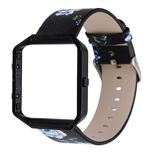 YOSWAN Replacement Band for Fitbit Blaze, Watchband Floral Soft Leather Strap Replacement Watch Band Wristband Bracelet Strap and Frame for Fitbit Blaze (Black Green+ Black Frame)