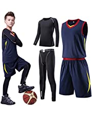 Tesuwel Boys Girls Athlectic Compression Shirts Pants Base Layer Thermal Underwear Set Running Tights Leggings 2 Pcs