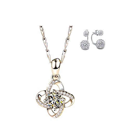 Yoome Women Sterling Silver Necklaces 925 Silver Cubic Zirconia Pendant Gemini Necklace and Earrings Set Valentines Gift For - Her Gifts Valentine For Hot