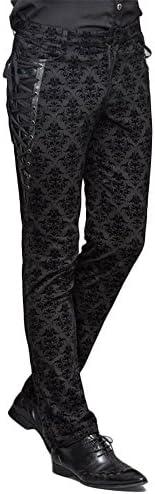 Devil Fashion Herren punkbaumwollhosen viktorianisch gedruckt Verband Braut Hosen