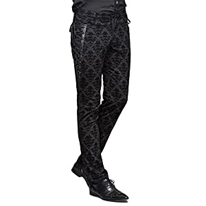 Devil Fashion Punk Men Cotton Dress Pants Victorian Printed Bandage Bridal Pants