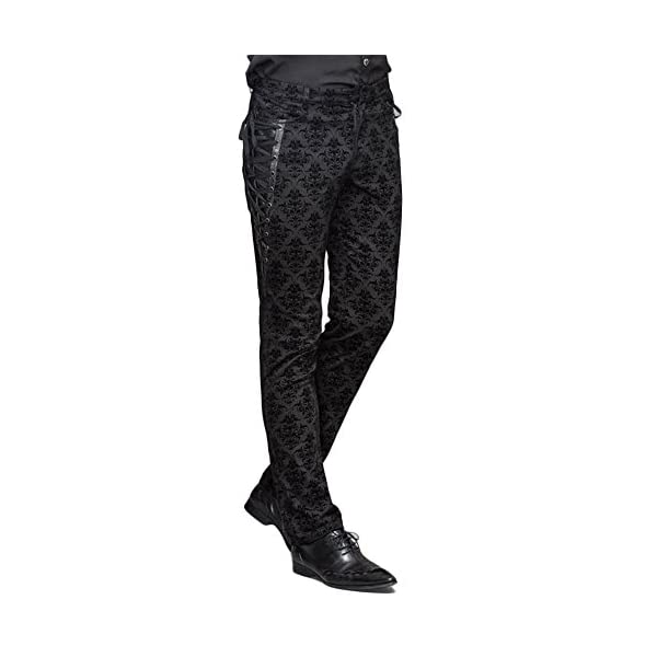 Devil Fashion Punk Men Cotton Dress Pants Victorian Printed Bandage Bridal Pants 3