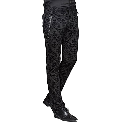 Devil Fashion Punk Men Cotton Dress Pants Victorian Printed Bandage Bridal Pants (M) -