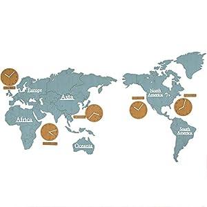 Wall clock Relojes, Sala de Estar, Reloj de Pared, Reloj de Pared del Mapa, Estilo nórdico, Movimiento de exploración silencioso Material de Madera 220 * 115 * 0.3cm 17