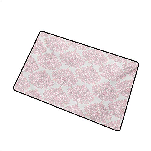(Bedroom Doormat Damask Damask Pattern Royal Motif Baby Pink Floral Design Victorian Fashioned Print W31 xL47 Hard and wear Resistant)