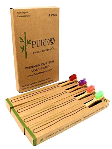 Bamboo Toothbrushes By Pure Bamboo | Smooth Bamboo Handle Toothbrushes with Soft Nylon Bristles | Naturally Antimicrobial, Organic, Biodegradable & Eco-Friendly Oral Hygiene | Color Coded 4 Piece Set