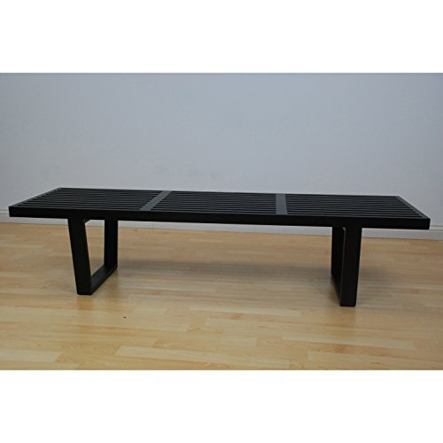 Mod Made 5 ft. Contemporary Mid Century Modern Platform Natural Wooden Slat Bench, Black