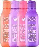 Tupperware Aquasafe Plastic Bottle Set with Fliptop, 1 Litre, Set of 4, Multicolour