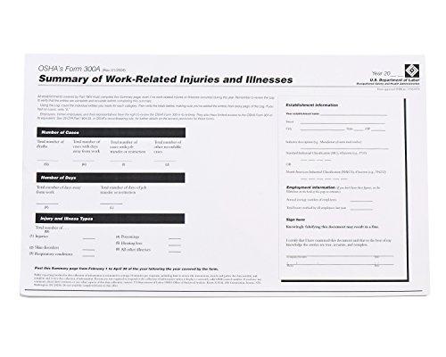 Osha Form 300a - Brady OR300A Forms, OSHA 300A Log
