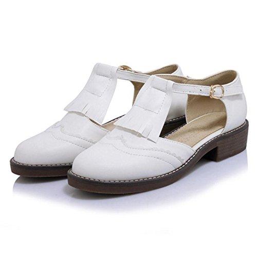 TAOFFEN Women Fashion Low Block Heel Buckle Straps Round Toe Court Shoes 450 White k6rX2DvFSl