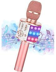 Draadloze Karaoke Microfoon, Ankuka Draagbare Bluetooth Karaoke Microfoon Speaker Machine Home KTV Speler voor Android/iOS, met Record Functie, Dansende LED Lampen, Magic Geluid, Kids Gift