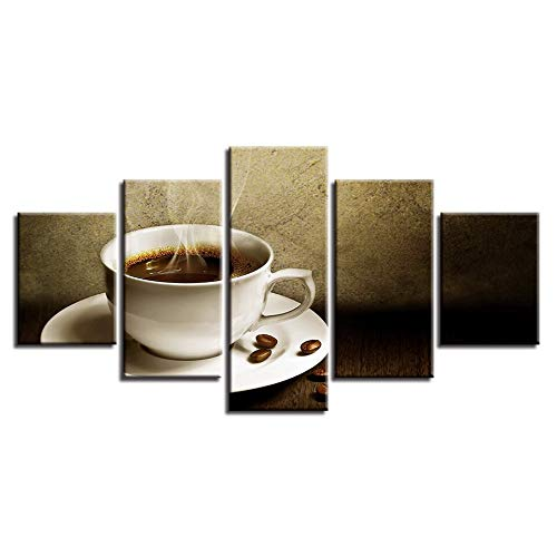 No Frame 30x40 30x60 30x80cm LONLLHB Painting Canvas Painting Home Decor Hd Prints 5 Piece Hot Coffee Artistic Pictures Kitchen Poster Modular Restaurant Wall Art Frame