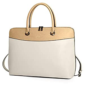 CLUCI Briefcase for Women Oil Wax Leather 15.6 Inch Laptop Business Vintage Slim Ladies Shoulder Bag Beige and Khaki