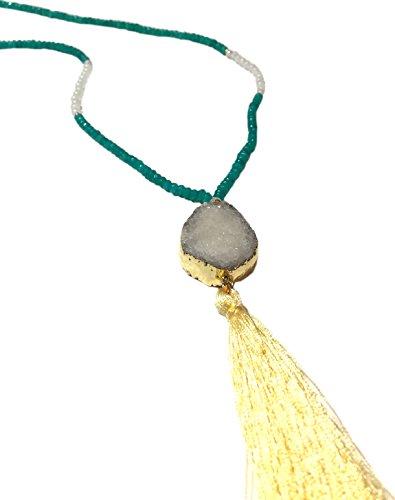 Quartz Tassel Necklace w/ Natural Stone Beads