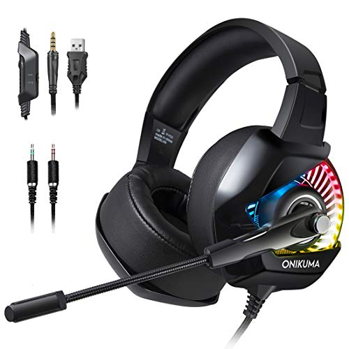 PS4 Gaming Headset with Mic for PC, Xbox One S, Laptop, Mac, Stereo Professional Gamer Headphones with Microphone LED Lights, Noise Cancelling for Computer, Ipad, Smartphone, Nintendo Switch - RGB