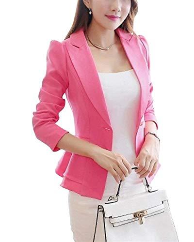Autunno Slim Tailleur Button Primaverile Manica Giacca Blazer Cappotto Da Giacche Classiche Giaccone Con Casual Bavero Donna Pink Multistrato Fit Lunga Fashion Monocromo Business g8qn7