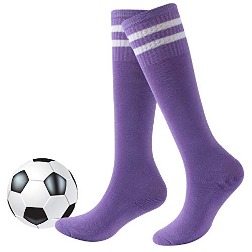 - Girls Baseball Socks,Youth Kids Striped Cotton CushionTube Running Athletic Pink Soccer Socks Fasoar 2 Pairs Purple