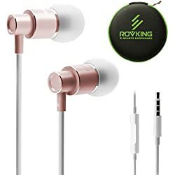 ROVKING Wired Metal In Ear Earbuds Headphones with Mic and Case Bass Stereo Noise Isolating Ear Buds Inear Earphones - Lightweight, Alluminum Alloy, iPhone Color, Inline Remote (Rose Gold)