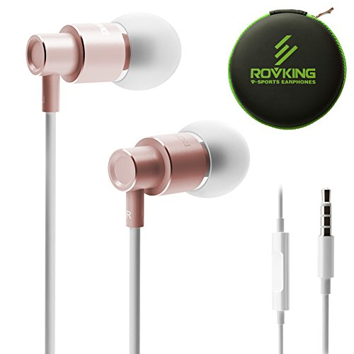 ROVKING Wired Metal Earbuds in Ear Headphones with Mic and Case Bass Stereo Noise Isolating Ear Buds Inear Earphones for Cell Phones Tablet - Lightweight, Aluminum Alloy, Inline Remote (Rose Gold)