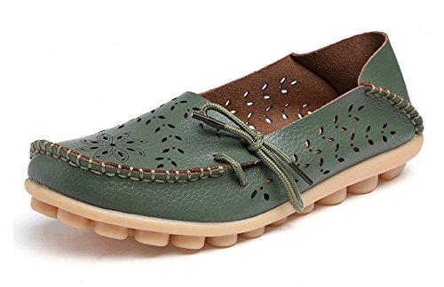 Venuscelia Womens Pustende Komfort Går Flat Dagdriver Grønn