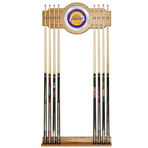 NBA Los Angeles Lakers Billiard Cue Rack with Mirror by Trademark Gameroom