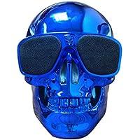 Creazy Plastic Skull Metallic Wireless Shape Bluetooth Speaker Subwoofer Mobile Speaker (Blue)