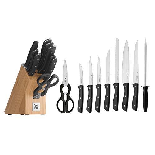 WMF Messerblock mit Messerset, 10-teilig, 7 Messer geschmiedet, 1 Schere, 1 Wetzstahl, 1 Block aus Bambus, Spezialklingenstahl, Edelstahl-Nieten