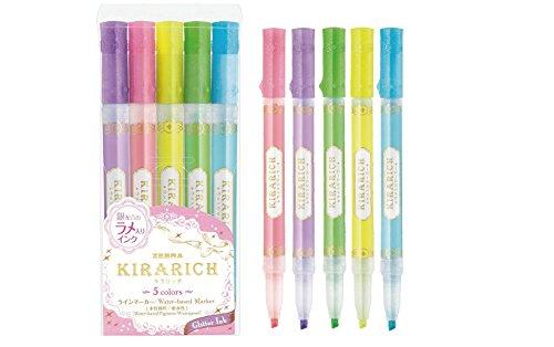 Zebra Glitter Highlighter, Kirarich, 5 colors (WKS18-5C) by -