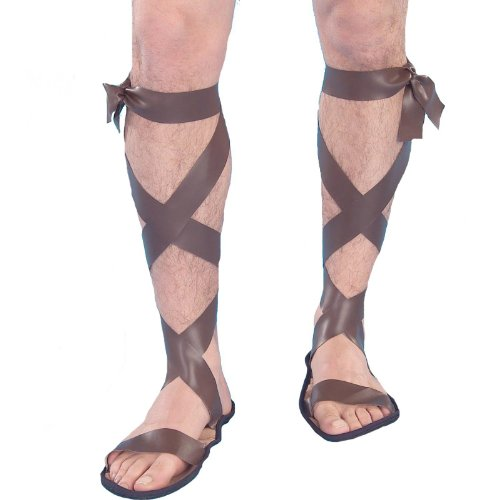 Makeup Roman (Forum Novelties Men's Novelty Wise Man Roman Sandals, Brown, One)