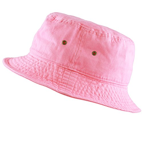 The Hat Depot 300N Unisex 100% Cotton Packable Summer Travel Bucket Hat (S/M, Pink)]()