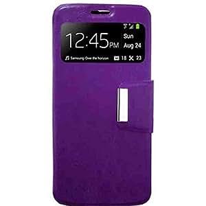Funda Samsung Galaxy A3 (A300) -Muchasfundas- con tapa (tipo libro) de piel sintética (PU) morado