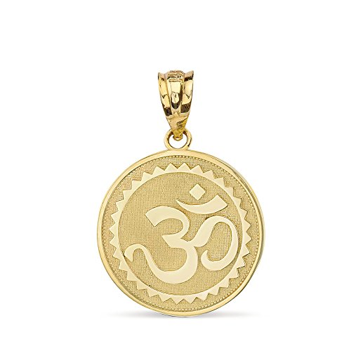 - Solid 14k Yellow Gold Hindu Meditation Yoga Charm (Aum) Om Disc Pendant