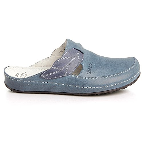 BATZ NLK Handmade Leather Womens Ladies Slip-on Clogs Mules Blue
