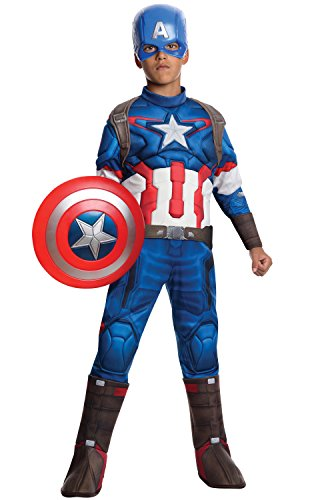 Captain America Costumes Large (Rubie's Costume Avengers 2 Age of Ultron Child's Deluxe Captain America Costume, Large)