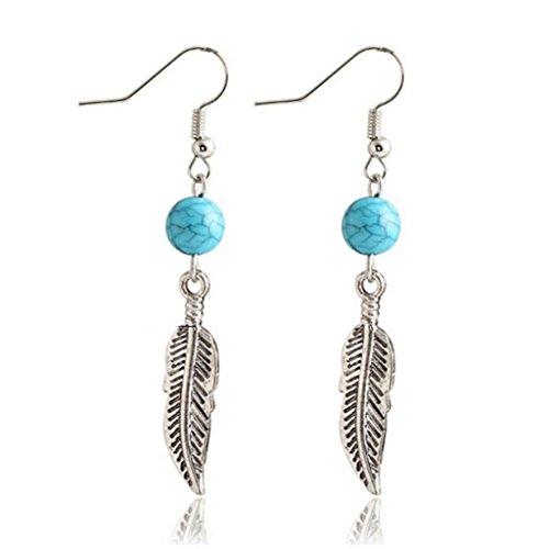 "Clearance ! Yang-Yi 2018 Fashion Jewelry 1Pair Turquoise Circular Leaves Dangle Eardrop Earings (2.3"", Silver) (Circular Earring Zirconia)"