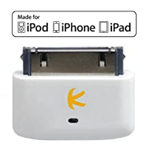 KOKKIA i10s (Luxurious White) Tiny Bluetooth iPod Transmitter for iPod/iPhone/iPad, Apple authentication. Remote controls, local iDevice volume controls. Works & fits very well with latest iPod 6th gen tiny Nano, iPod Touch 4th gen, iPhone 4, iPad.