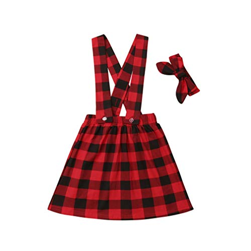 (Specialcal Baby Girls Velvet Suspender Skirt Infant Toddler Ruffled Casual Strap Sundress Summer Outfit Clothes (1-2T, Red Plaid))