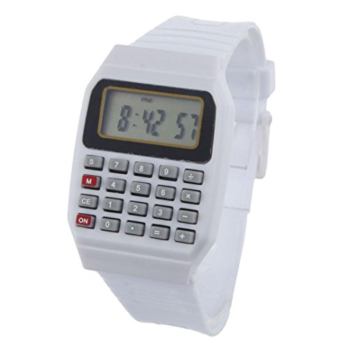 Yuelove Fashion Useful Silicone Multi-Purpose Date Time Electronic Wrist Calculator Watch (White, ()
