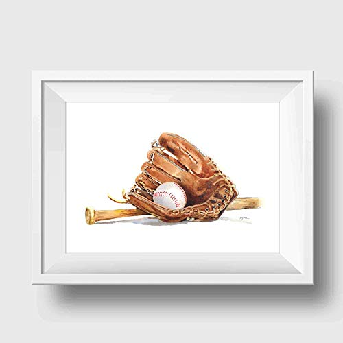 Baseball Bat and Glove Art Print | Sports Wall Decor for Boys Room | 8.5 x 11 Inch Gallery Quality Fine Art Giclee Print ()