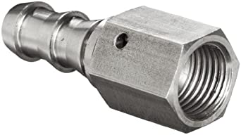 """Brennan 2111-06-06-SS, Stainless Steel JIC Tube Fitting, 06PL-06FJS Adapter, 3/8"""" Tube OD x 3/8"""" Hose ID"""