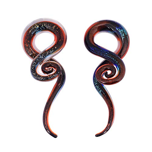 Oyaface 2pcs Glass Spiral Ear Plugs Expander Tunnels Ear Piercing Jewelry 4g-9/16 (Red quicksand-00g(10mm))