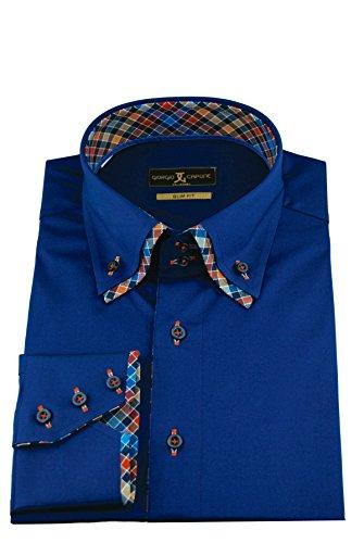 Giorgio Capone Herrenhemd, Blau, Doppelkragen Karo-Muster Elementen, Langarm, Slim/Normal & Regular-Plus Fit
