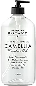 Camellia Wonder Oil - 100% Natural, 8.8 oz - Multi-Use Oil - Deep Cleansing Oil, Face & Eye Makeup Remover & Body Massage Oil - Reduces Appearance of Acne Scars & Stretch Marks - Brooklyn Botany