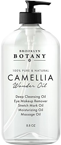 Camellia Wonder Oil - 100% Pure & Natural- Face & Eye Makeup Remover, Cleansing Oil, Body Massage Oil - Reduces Appearance of Acne Scars & Stretch Marks - Ultra Lightweight 8.8 oz - Brooklyn Botany
