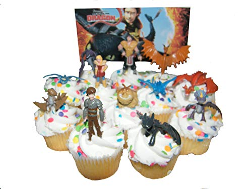 How to Train Your Dragon Set of 12 Figure Cake Toppers/Cupcake Party Favor Decorations with 9 Dragons, Hiccup, Astrid and Some New -