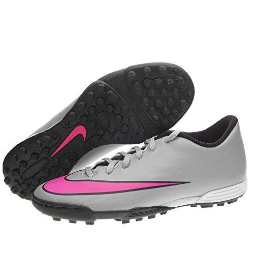 Nike Herren Mercurial Vortex II TF Fußballschuhe, 44.0 EU Grau / Pink / Schwarz (Wolf Grau / Hyper - Rosa-Schwarz-Schwarz)
