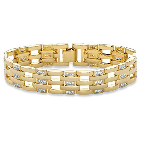 Palm Beach Jewelry Men's 14K Yellow Gold-Plated Bar Link Bracelet (15mm), Round Cubic Zirconia, 8