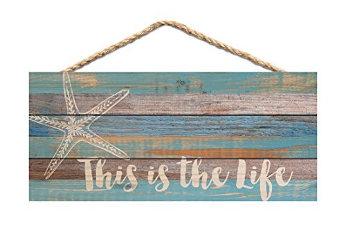 (P. GRAHAM DUNN This is The Life Starfish Blue Distressed 10 x 4.5 Wood Wall Hanging Plaque)